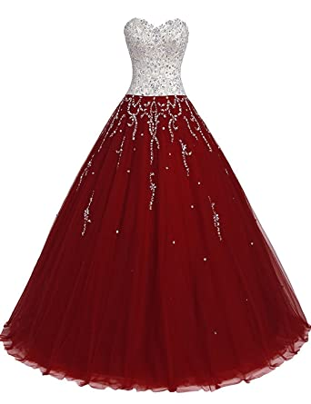 TrendProm Womens Prom Dresses Sweetheart Quinceanera Dresses Tulle with Beads Size 0 US Burgundy