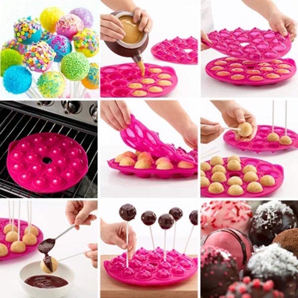 OtdAir Molde para Cake Pop - Silicone Cake Pop Molde hace 18 Cake pops, silicona bandeja Pop Cake Stick mould,Rosa: Amazon.es: Hogar