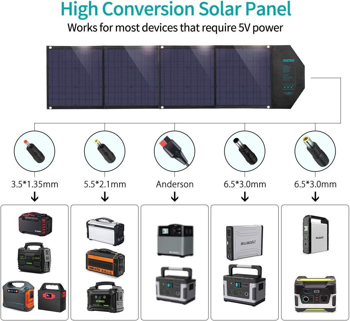 CHOETECH Cargador Solar, Kit Panel Solar Portátil 80W, Plegable Impermeable, PD 30W + QC 18W + USB 12W, Salida de DC 18V para Generador Portátil, ...