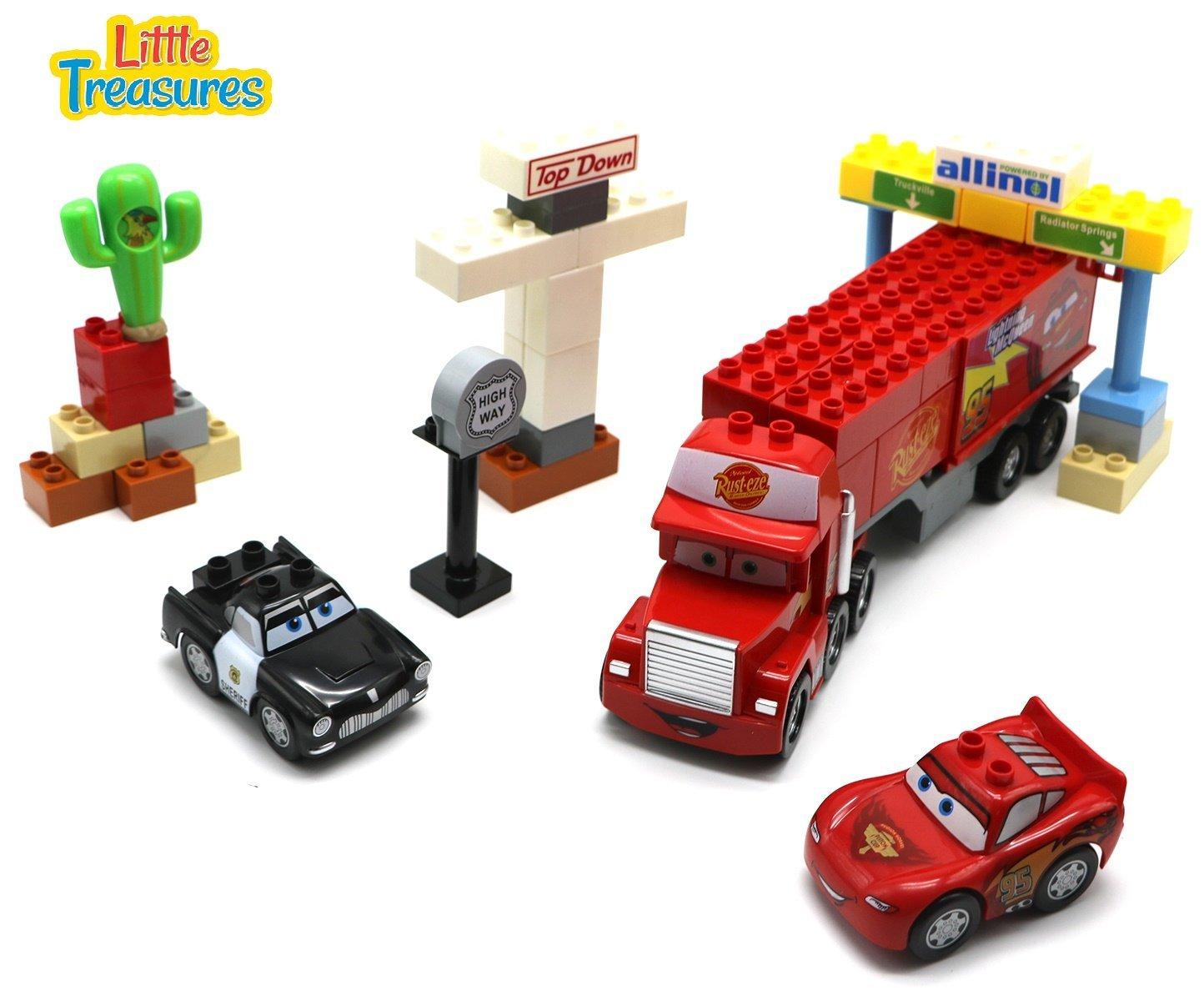 Little Treasures Cars /& Truck Grand Prix Highway Building block 51 pieces toy set for 3 preschoolers