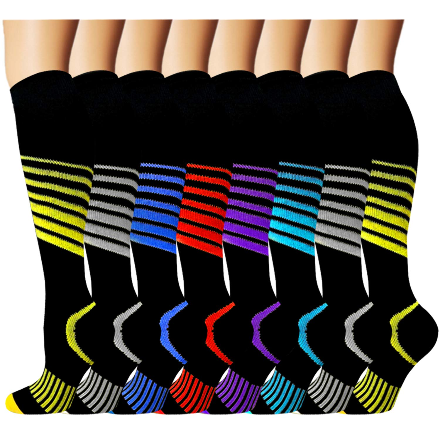8 Pack Copper Knee High Compression Socks For Men & Women-Best For Running,Athletic,Medical,Pregnancy and Travel -15-20mmHg by Iseasoo