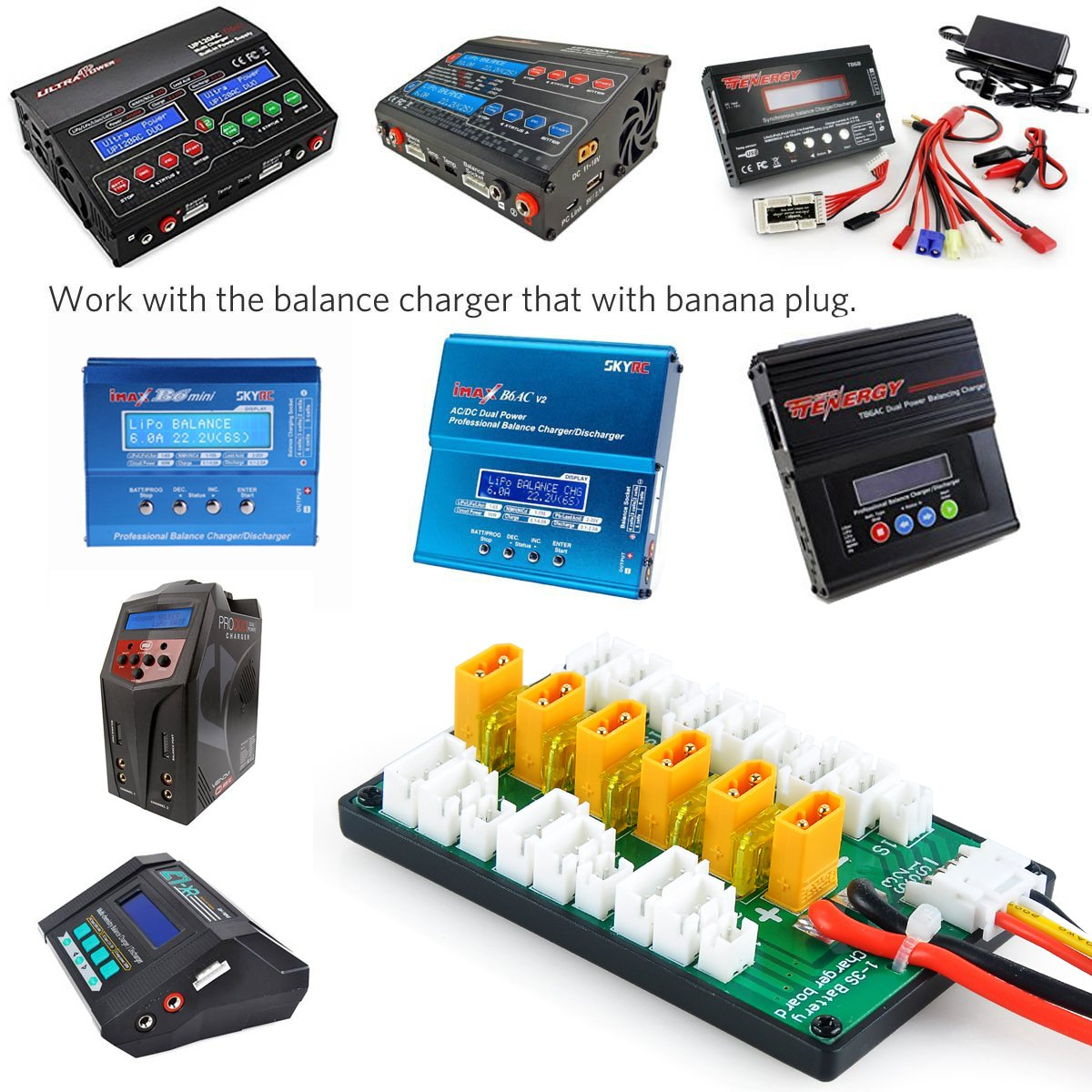 Xt30 Parallel Charging Board For 2s 3s Lipo Batteries Balancer Seven Segments Compatible With Jst Connector Toys Games