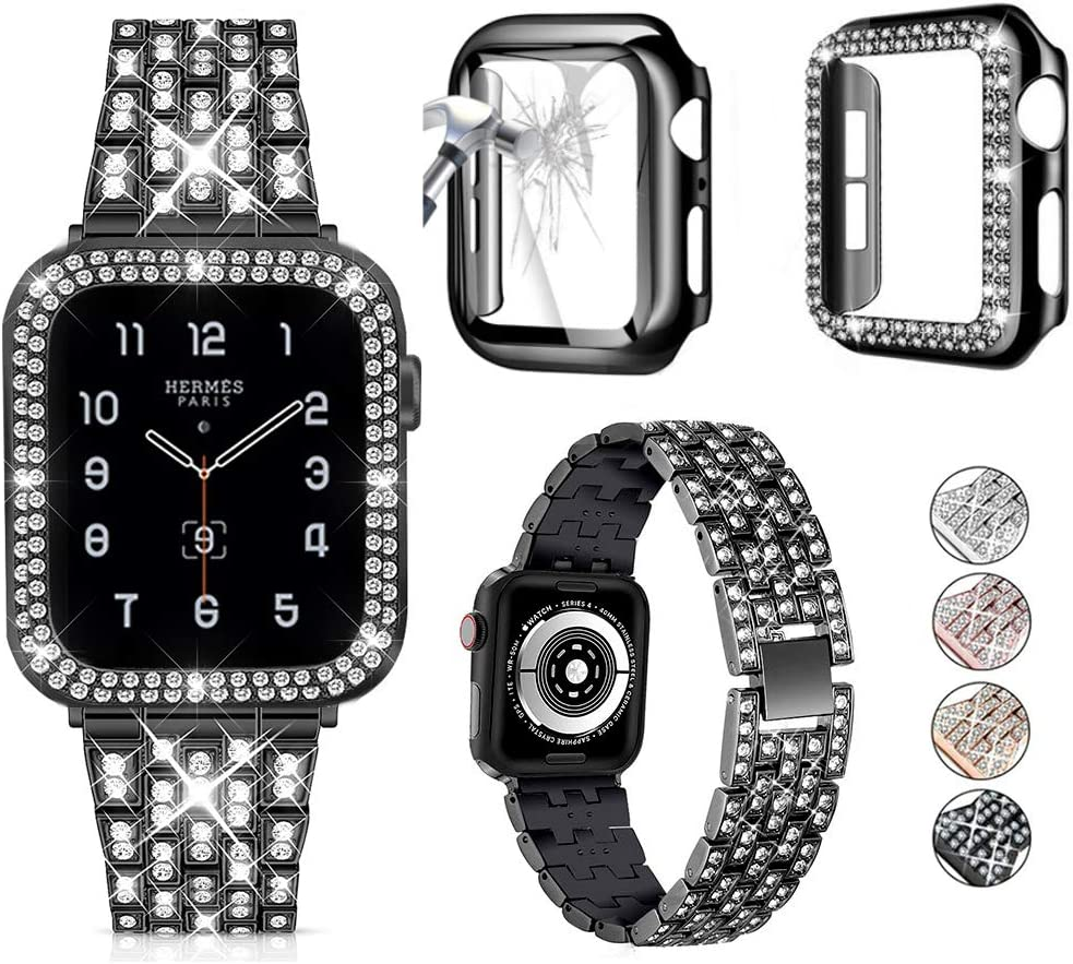 3-Pack JOHIPI Compatible with Apple Watch Band 38mm 40mm 42mm 44mm + Case, Women Jewelry Bling Diamond Metal Strap with Diamond Case and Glass Screen Protector Case For iWatch Series SE/6/5/4/3/2/1 (Black, 44mm)