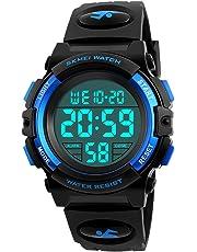 Kid Watch 50M Waterproof Sport LED Alarm Stopwatch Digital Child Wristwatch for Boy Girl Blue