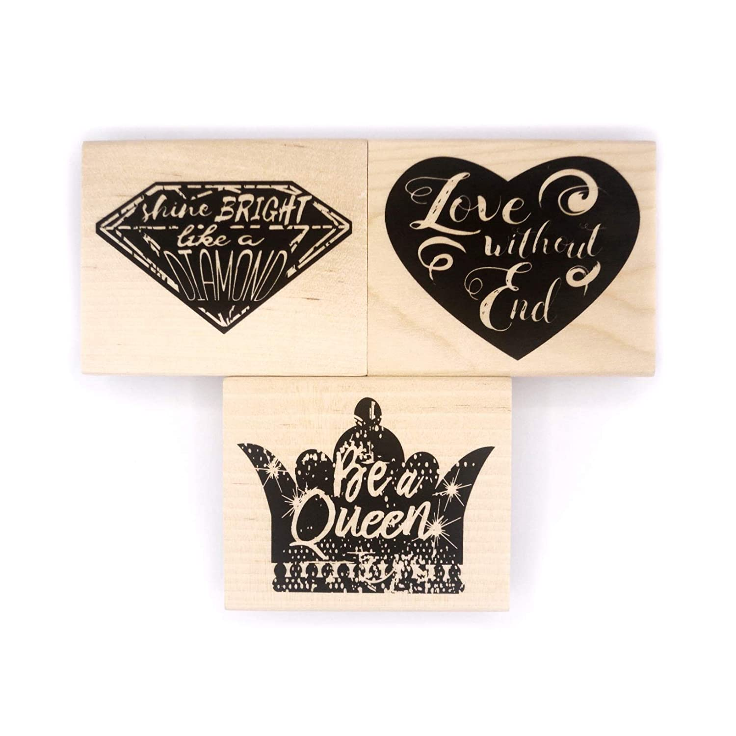 Heart 3 Pieces Crown for Card Making Opia CRAFTS Inspirational Quote Wood Mounted Rubber Stamp Set Diamond Scrapbooking and DIY Crafts