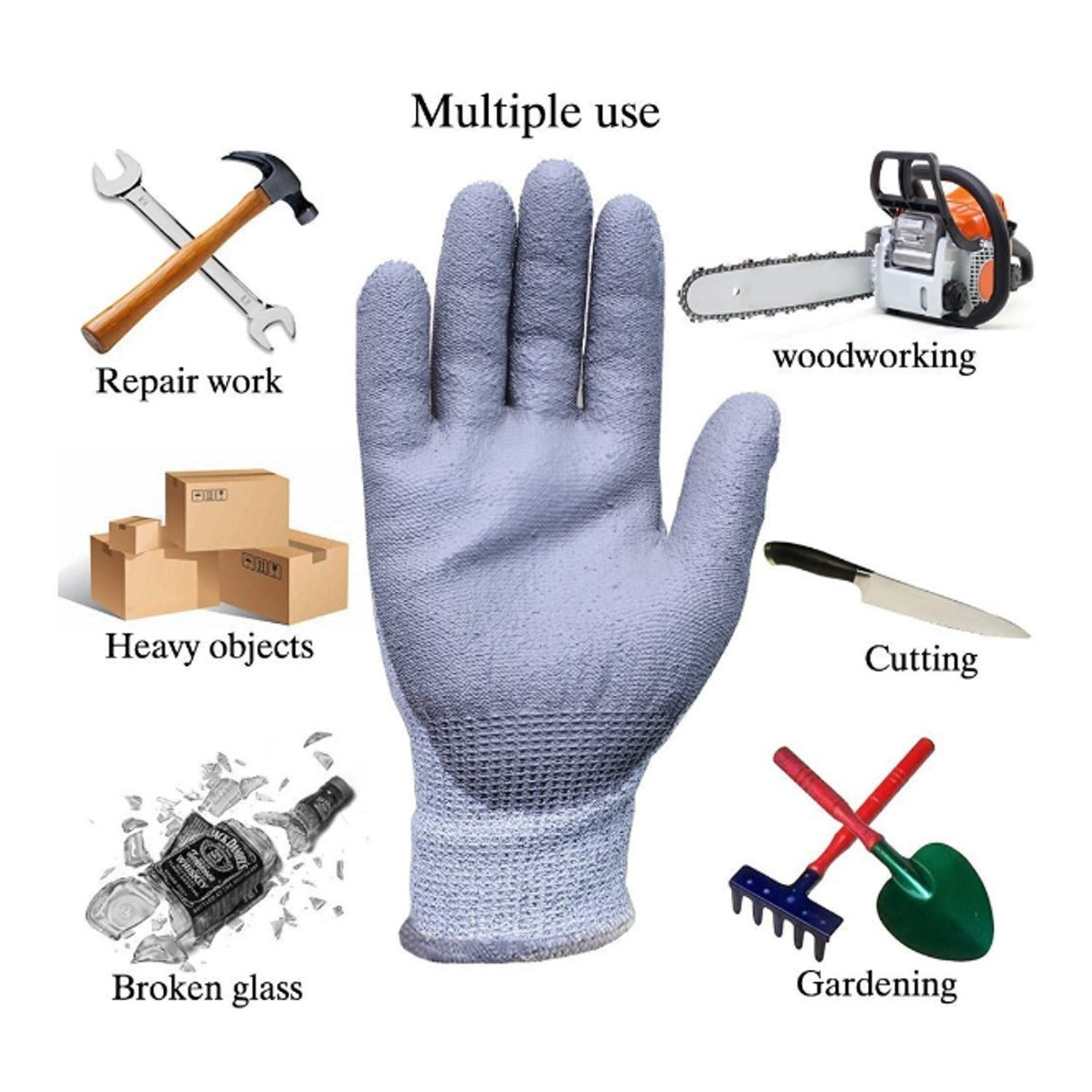 ACAO Textured Rubber Nitrile Palm Dipped/Coated for Construction, Men's X-Large Home Gardening (Color : 2 Pairs, Size : L-9(9.45 in)) by ACAO-Glove (Image #2)