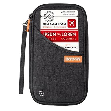 Defway Travel Wallet RFID Blocking Document Organizer Bag, Family Passport Holder