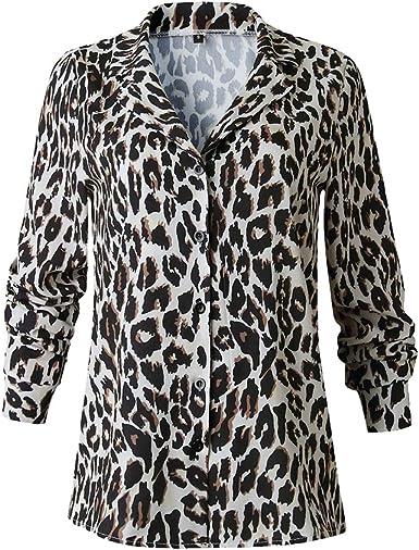 WEIMEITE Camisa Clásica De Mujer Moda Estampado De Leopardo Blusa Botones Top Camisa De Manga Larga Oficina Dama Camisa De Fondo: Amazon.es: Ropa y accesorios