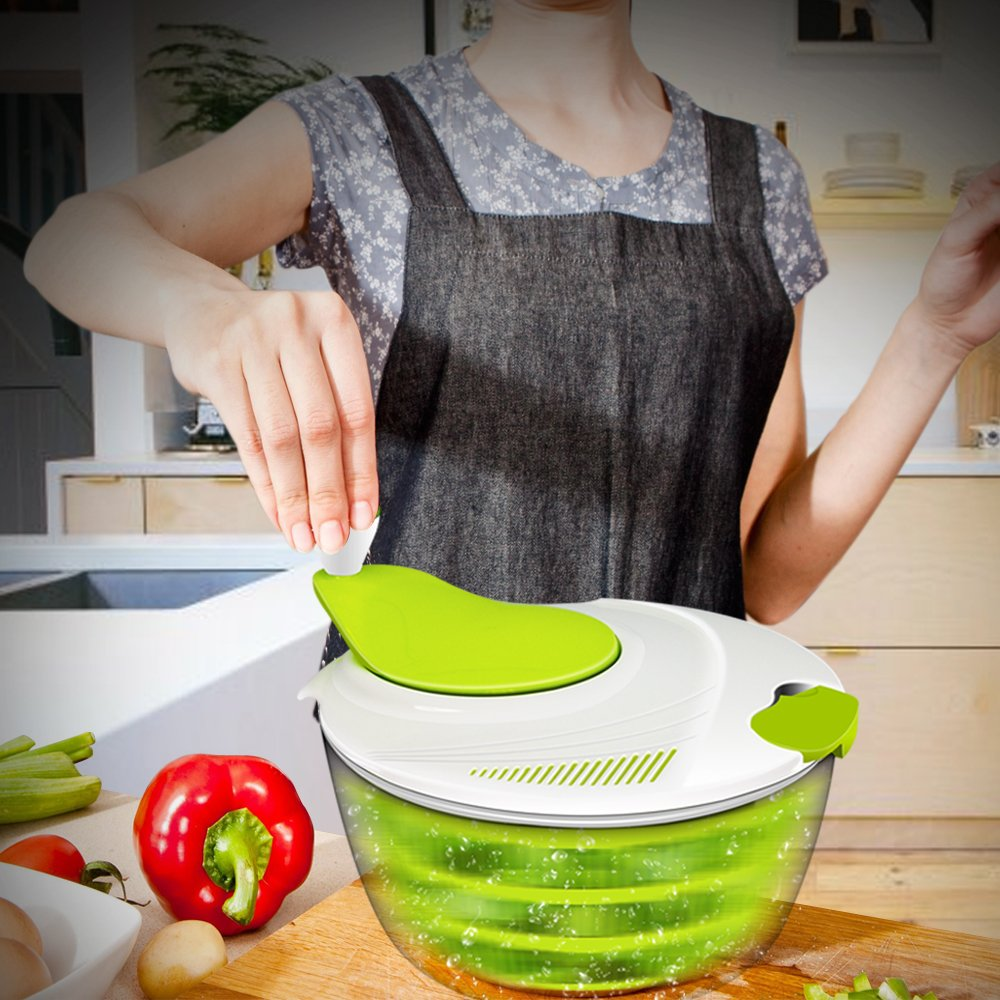 Salad Spinner, ANKO BPA Free Certified 4.2 Quart Capacity Vegetable Dryer Strainer with Vegetable Scissors, Ease for Tastier Salads and Faster Food Prep (1) by ANKO (Image #7)