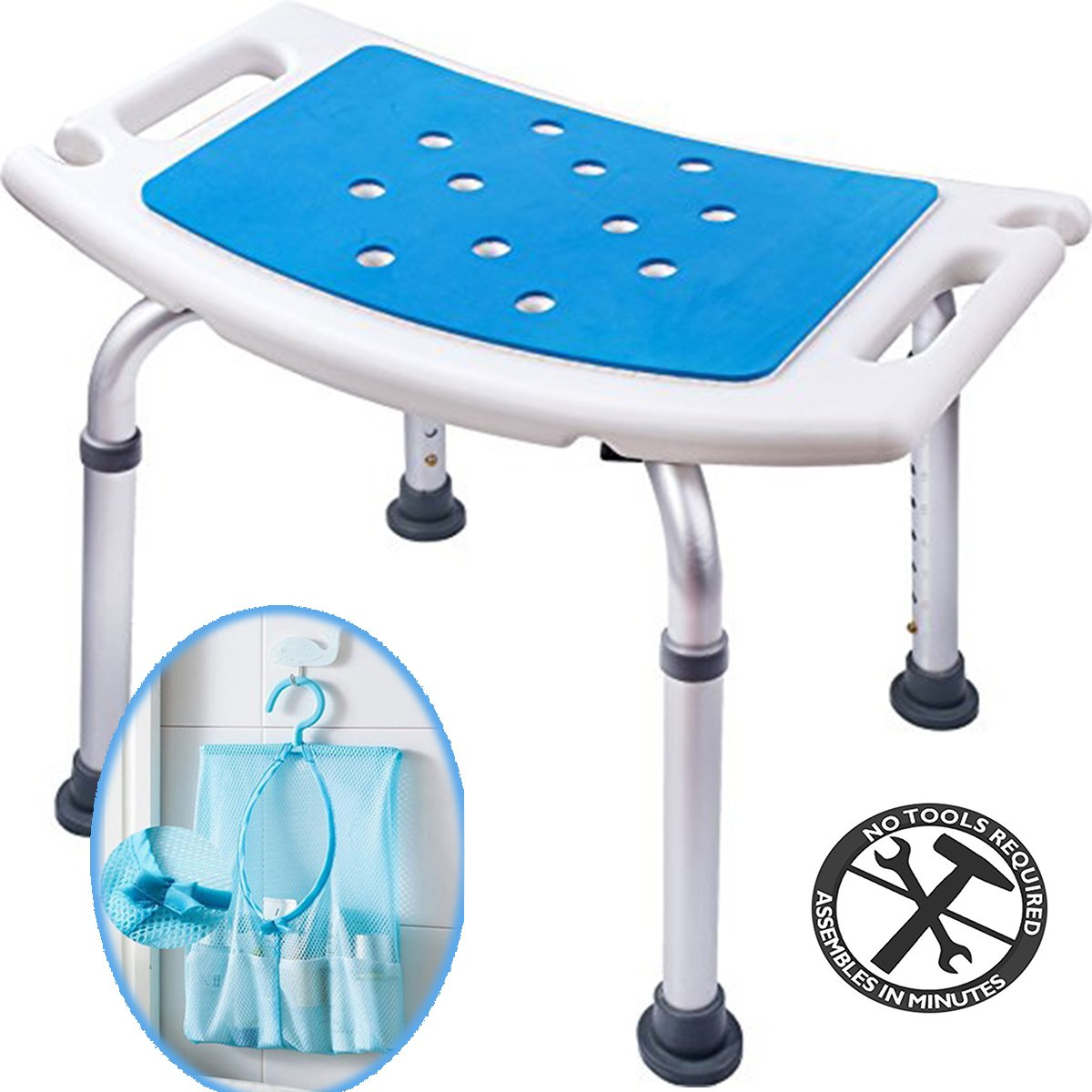 Medokare Shower Stool with Padded Seat - Shower Seat for Seniors with Tote Bag and Handles, Shower Bench Bath Chair for Elderly, Handicap Tub Shower Seats for Adults (White Stool) by Medokare