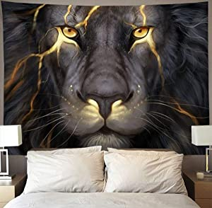 NiYoung Golden Cool Lion King paninting Wall Tapestry Hippie Art Tapestry Wall Hanging Home Decor Extra Large tablecloths 60x70 inches for Bedroom Living Room Dorm Room