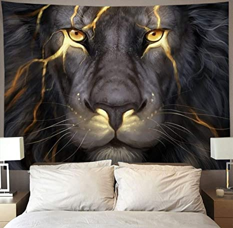 Amazon Com Niyoung Golden Cool Lion King Paninting Wall Tapestry Hippie Art Tapestry Wall Hanging Home Decor Extra Large Tablecloths 60x80 Inches For Bedroom Living Room Dorm Room Home Kitchen