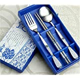 3 in 1 Vintage Tableware Set Chinese Style Stainless Steel Chopsticks Spoon Fork Clover by SkoTeRy (White and Blue)