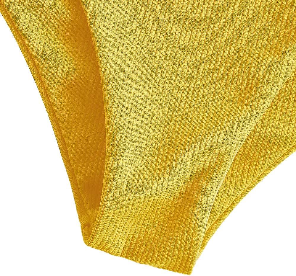 ZAFUL Womens Scalloped Textured Swimwear High Waisted Wide Strap Adjustable Back Lace-up Bikini Set Swimsuit