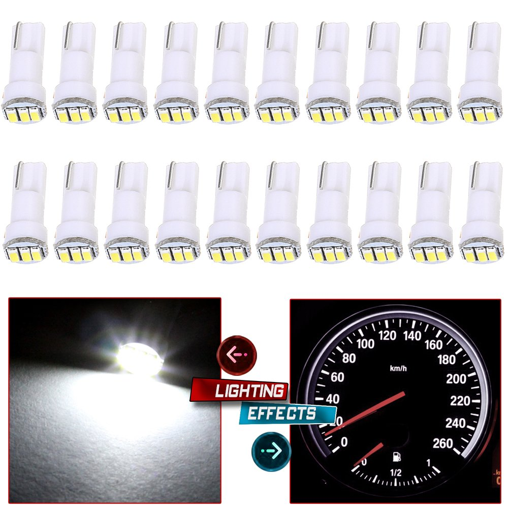 20x T5 17 74 73 3-3014SMD Instrument Gauge Dash Indicator LED Light Bulbs (White) by cciyu