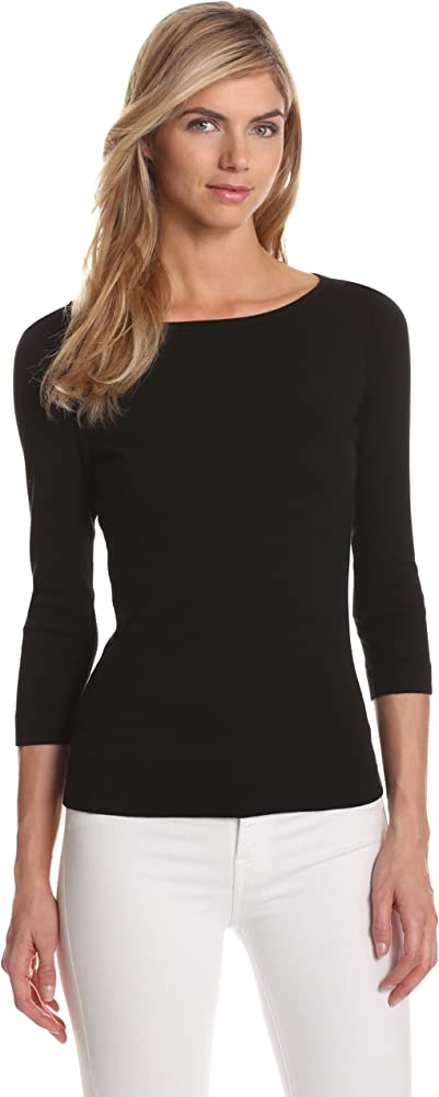 2ef0815f7 Amazon.com: Three Dots Women's 3/4 Sleeve British Tee,Black,X-Small ...