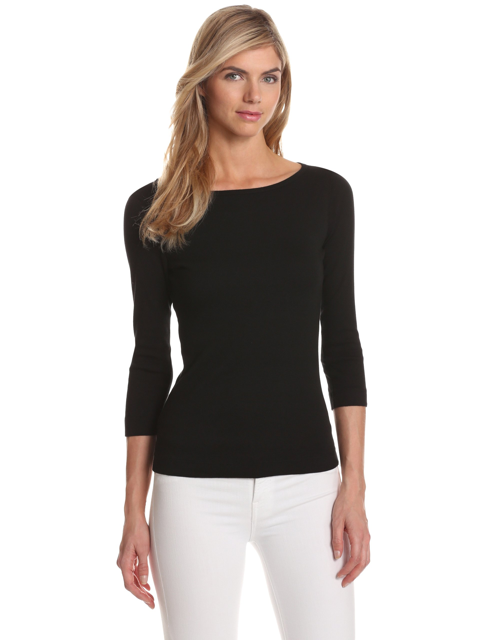 Three Dots Women's 3/4 Sleeve British Tee,Black,Medium