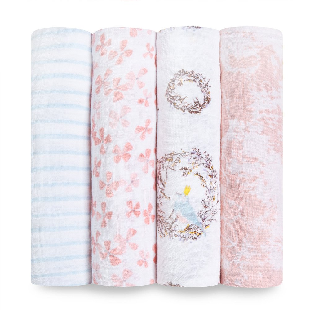 Aden + Anais Classic Swaddle Baby Blanket, 100% Cotton Muslin, Large 47 X 47 inch, 4 Pack, Bird Song