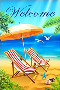 "Morigins Welcome 5 O'Clock Beach Summer Garden Flag Holiday Beach Chair Relax Funny Outdoor Yard Flag 12.5"" x 18"""