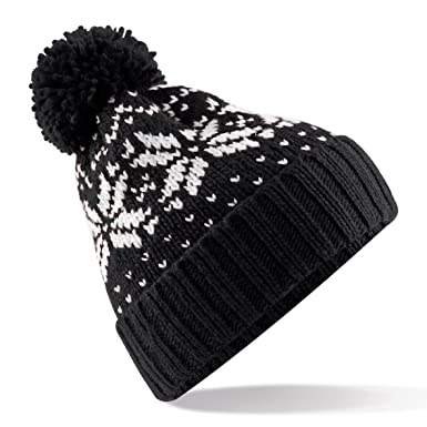 Amazon.com: Beechfield Unisex Fair Isle Snowstar Winter Beanie Hat ...