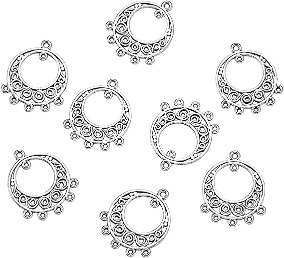 40pcs Tibetan Silver Charm Pendant Link Connector Jewelry Findings Ring 20mm