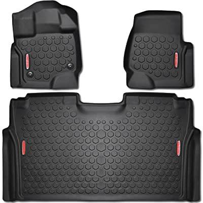 2015 - 2020 Ford F-150 Floor Mats (FRONT & REAR LINERS - 100% WEATHER RESISTANT) Fits Crew Cab F150 Trucks in 2015,2016 & 2020 Models - Guaranteed Perfect Fit - Custom Tech Fitting Technology: Automotive