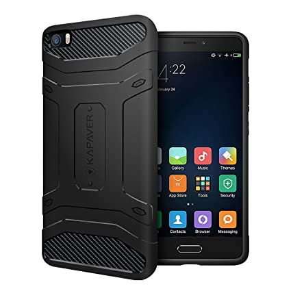 timeless design 0a6a4 3f011 KAPAVER Tough Rugged Mobile Back Cover for Xiaomi Mi 5 (Black)