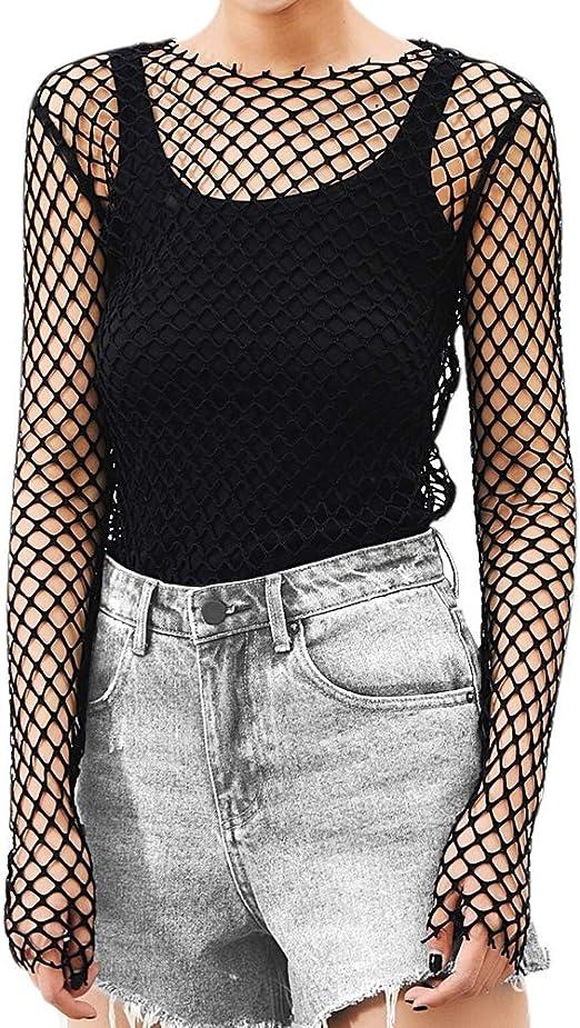 Women Mesh Net See-through Long Sleeve Crop Tops Shirt Blouse Fishnet Bodysuit