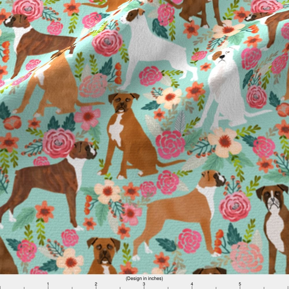 Dog Fabric - Boxer Dog Flowers Florals Mint Cute Flowers Trendy Painted Vintage Florals Boxer Dogs by petfriendly - Printed on Basic Cotton Ultra Fabric by the Yard