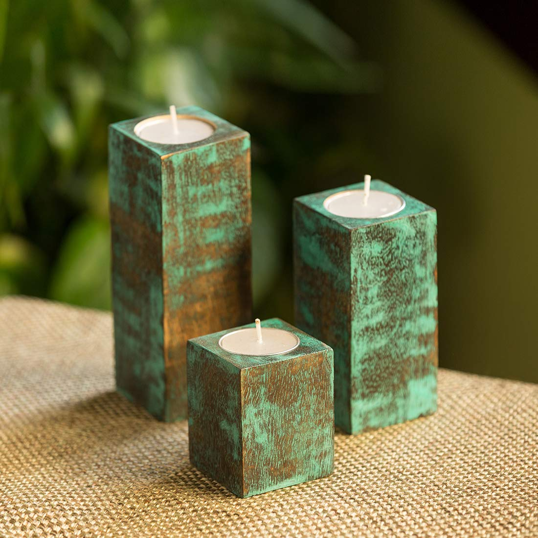 Buy Exclusivelane Teal Blocks Antique Finish Tea Light Holders In Mango Wood Set Of 3 Candle Holders For Home Décor Tealight Stand Tealight Holder Candle Stand For Home Decoration T Light