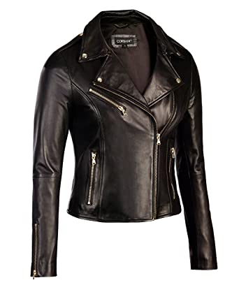 Womens Black Leather Biker Jacket Gold Hardware - Genuine Lambskin ...