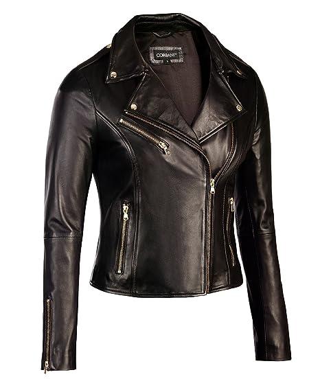 Womens Black Leather Biker Jacket Gold Hardware Genuine Lambskin
