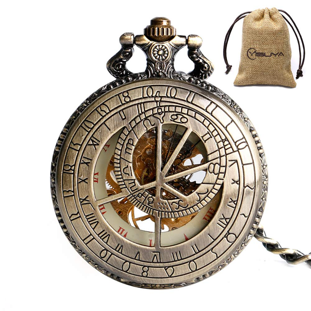 YISUYA Vintage Bronze Mechanical Hand-Wind Pocket Watch Hollow Steampunk Roman Number Dial Fob Watches for Men Women by YISUYA