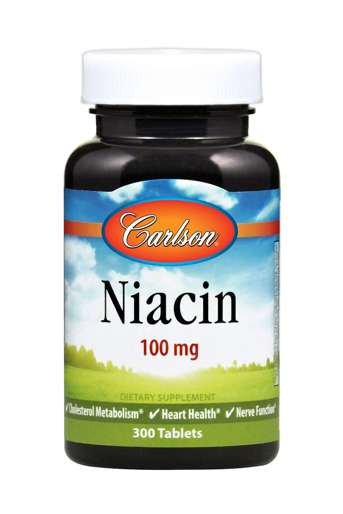 Carlson - Niacin 100 mg, Cholesterol Metabolism, Heart Health & Nerve Function, 300 Tablets