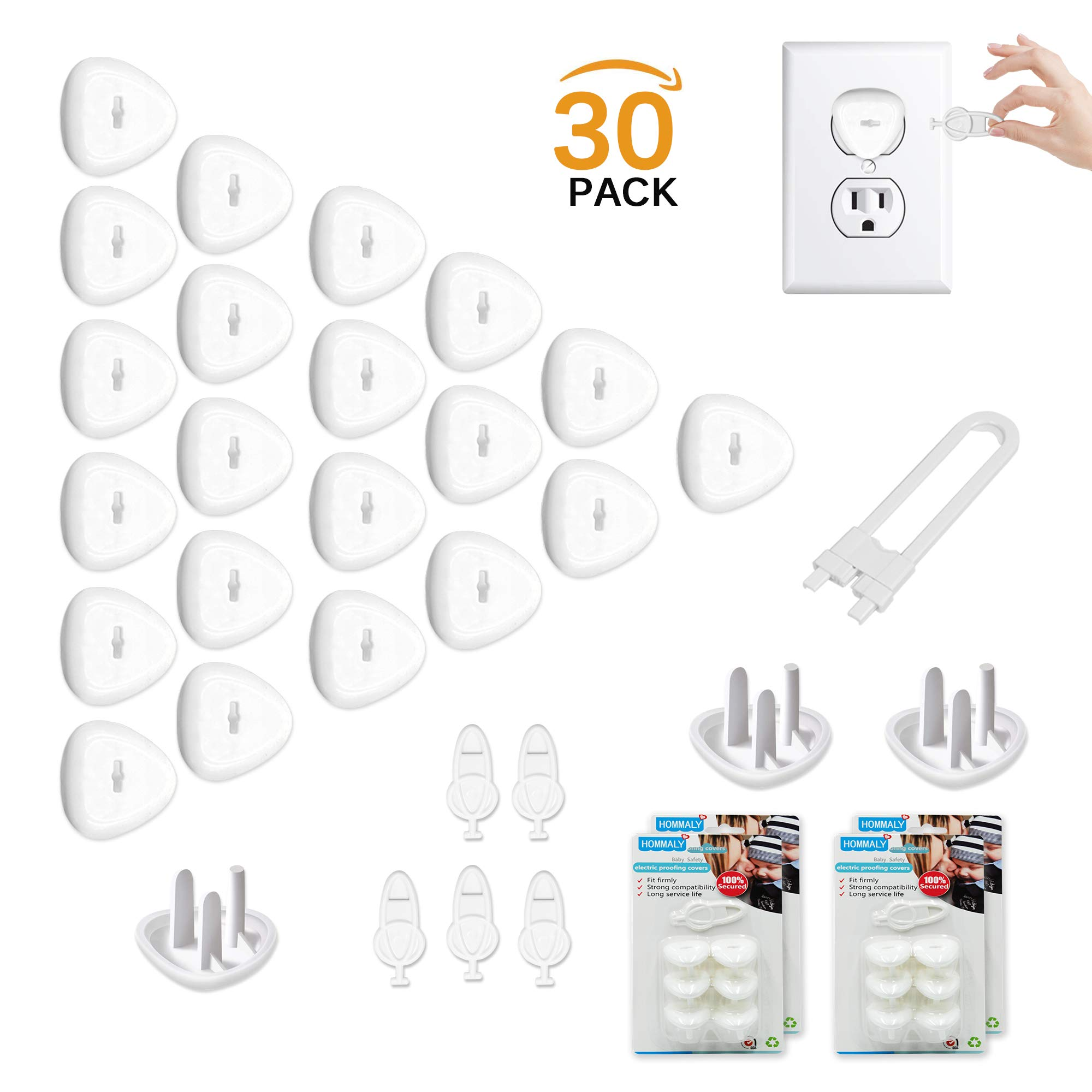 Electric Outlet Plugs Covers Baby Proofing(24 Plug + 5 Keys),Baby Safety ElectricalProtector Caps Kit for Toddlers Child by HOMMALY
