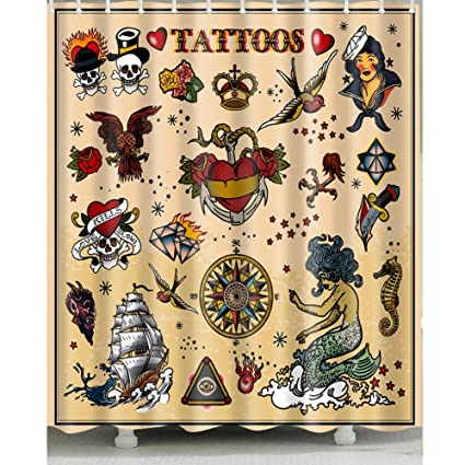 Tattoo Shower Curtain 1 Pc For Home And Bath