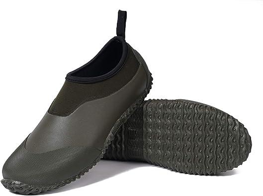 Amazon.com | Unisex Garden Shoes Ankle Rain Boots Waterproof Mud Rubber  Slip-On Shoes for Women Men Outdoor | Rain Footwear