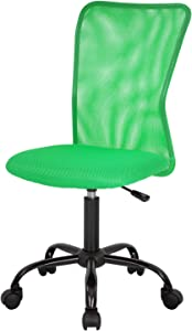 Home Office Chair Mid Back Mesh Desk Chair Armless Computer Chair Ergonomic Task Rolling Swivel Chair Back Support Adjustable Modern Chair with Lumbar Support (Green)