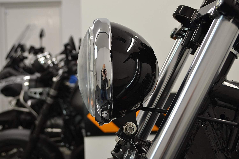 5.75 Black /& Chrome Custom Motorcycle Motorbike Headlight