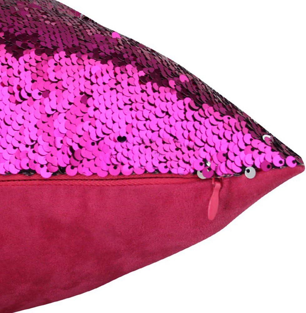 B Nicolas Gabbia double-face con paillettes 40 x 40 Centimeters Poliestere rosso federa copricuscino da 40 x 40 cm Federa per cuscino motivo: sirena Yamonic