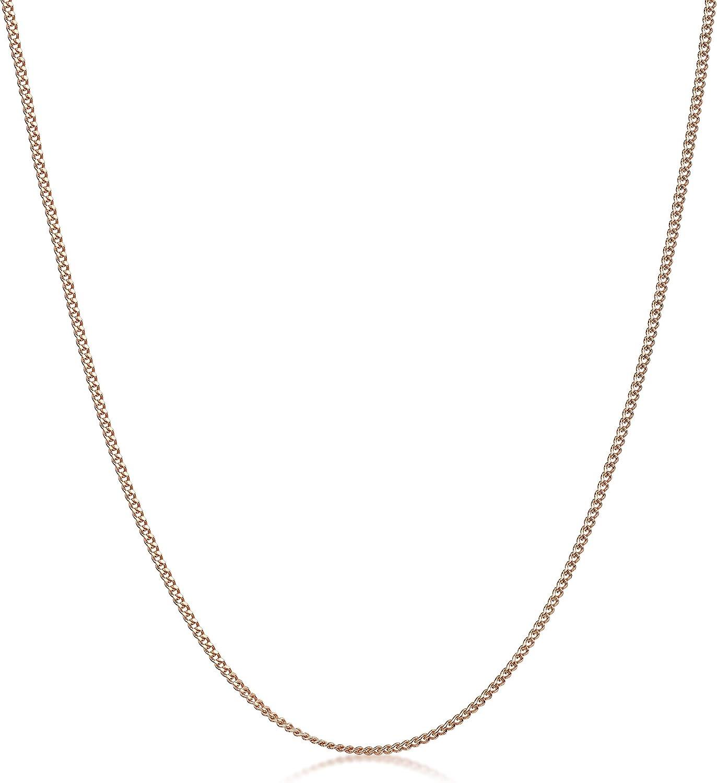Plaqu/é Or Ros/é 14K Collier Longueur 40 45 50 55 60 70 cm Cha/îne Argent 925//1000 Maille Gourmette Amberta/® Bijoux Largeur 1.3 mm