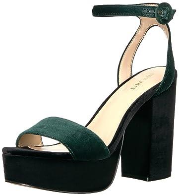 4e9c7efeffa9 Nine West Women s KREWL Heeled Sandal Green Fabric 5.5 Medium US