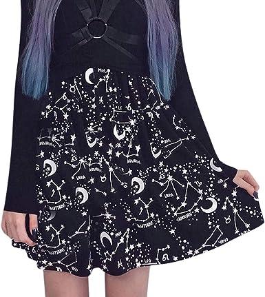 Vectry Mujer Fiesta Gothic Punk Cielo Estrellado Negro Impresión ...