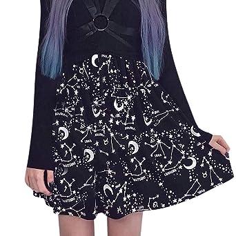 Sunnywill - Falda Negra con Estampado de Star Moon Sexy Punk ...