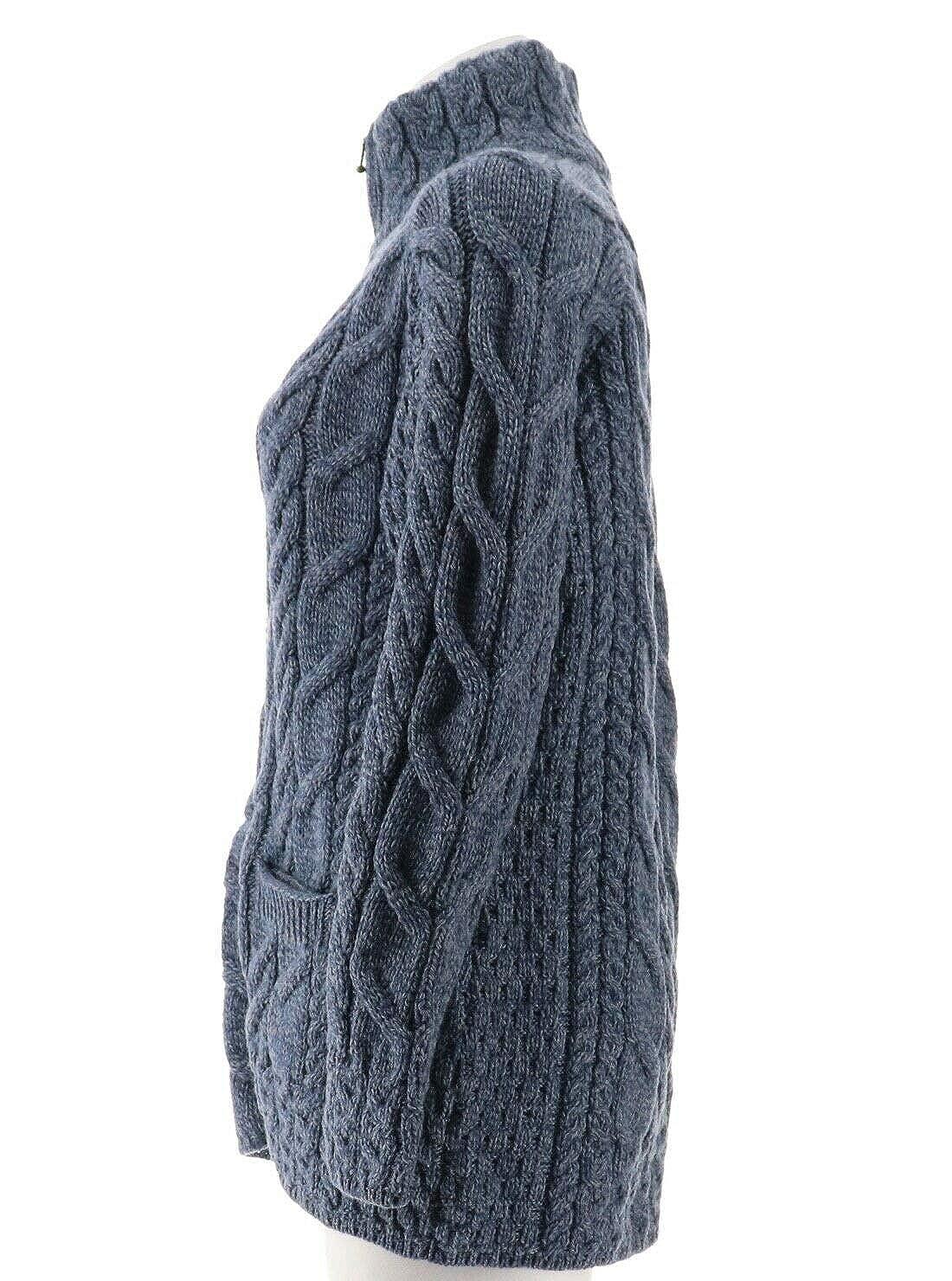 Kilronan Merino Wool Zip Front Sweater Stand Collar A305729