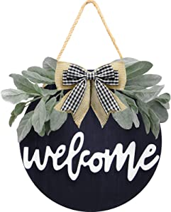 Welcome Wreath Sign for Farmhouse Front Porch Decor, Rustic Door Hangers Front Door with Premium Greenery-Welcome Home Sign Porch Hanging Christmas Housewarming Holiday Gift for Home Decoration(Black)