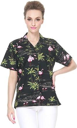 Hecho en Hawaii Camisa Hawaiana de Las señoras de la Hawaiana en Rosa Flamenco Palma Negro