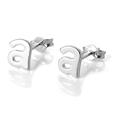 ef113b315 Sterling Silver Alphabet Letter A Stud Earrings: Amazon.co.uk: Jewellery