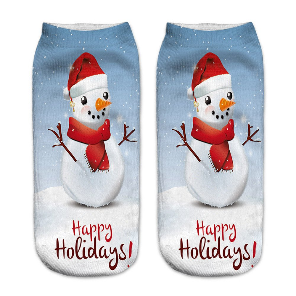 Charberry Clearance Unisex Santa Claus 3D Printed Christmas Casual Socks Low Cut Ankle Socks (H)