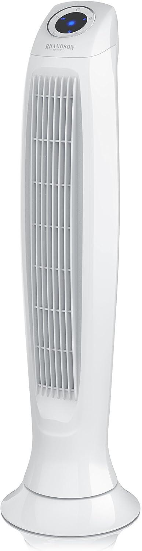 Brandson - Ventilador de Torre con Mando a Distancia - 60W - 3 Niveles de Temperatura LO Med HI - Temporizador - 3 Modos de Funcionamiento - Oscilación Ajustable a 60 Grado - Pantalla LED - Blanco